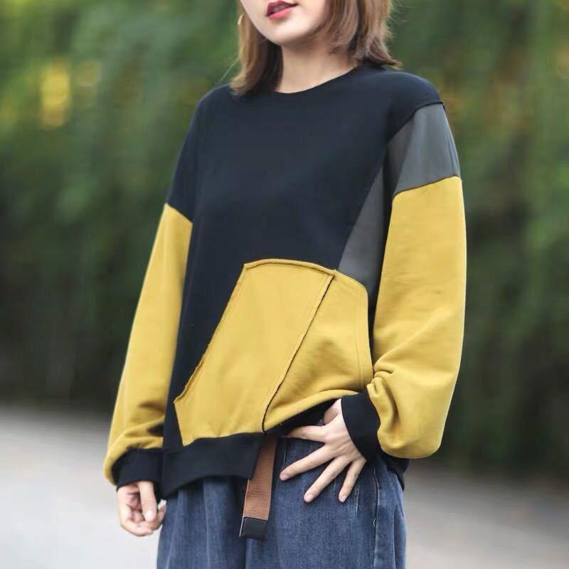 ربيع الخريف جديد الفنون نمط المرأة فضفاض عادية س الرقبة البلوفرات عدم التماثل المرقعة قميص قطني بكم طويل هوديس حجم كبير S102
