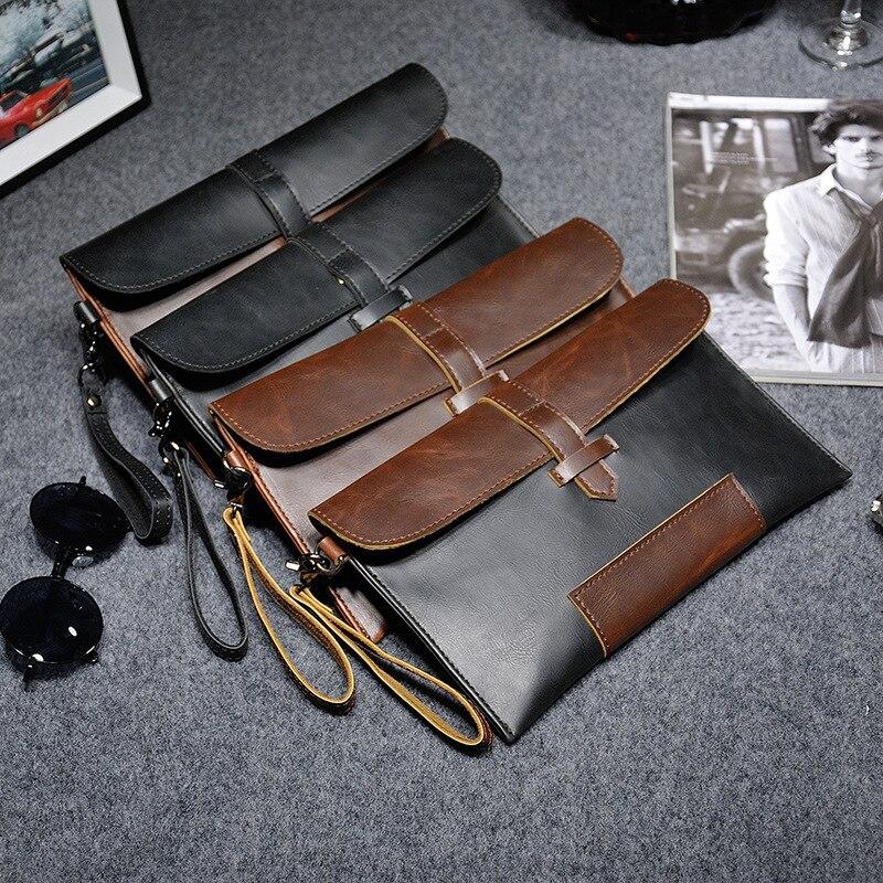 Мужской винтажный клатч Crazy Horse из искусственной кожи, мужской маленький кошелек-конверт, ручная сумка, кожаный модный клатч в стиле ретро, ...