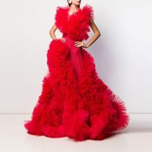 Chique moda couture brilhante vermelho vestido de baile de formatura feminino babados inchado tule noite formal vestido celebridade pageant vestidos de festa