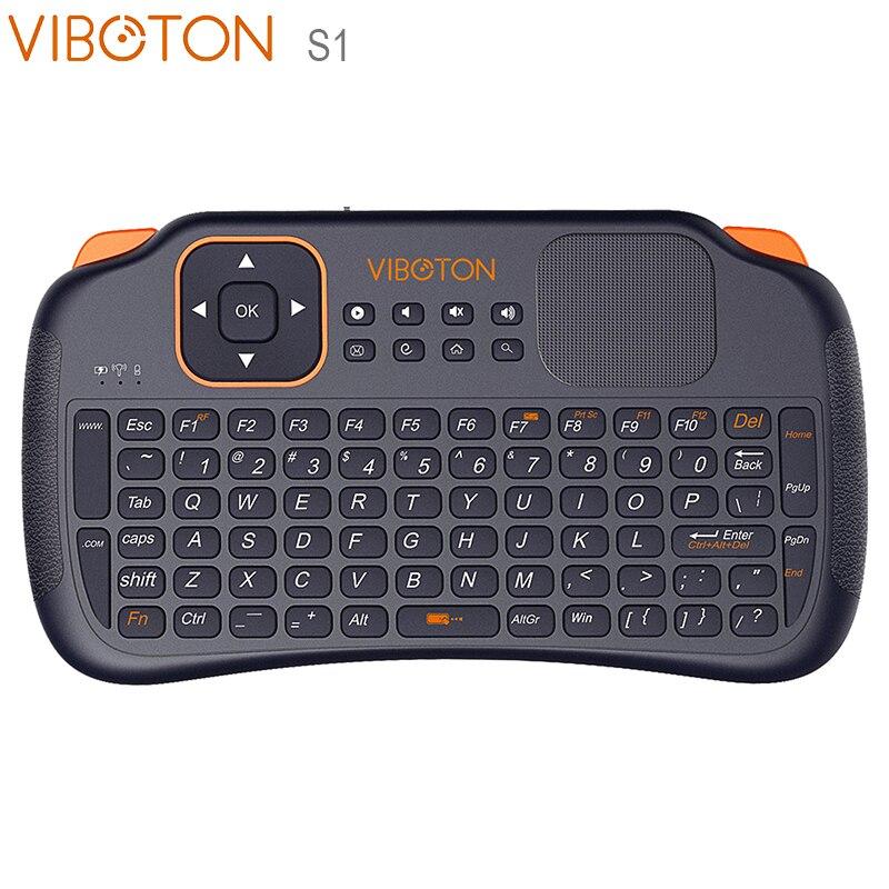 VIBOTON S1 2,4G Mini teclado inalámbrico Air Mouse con TouchPad para Android TV Box Mini teclado QWERTY completo para X96mini KM3