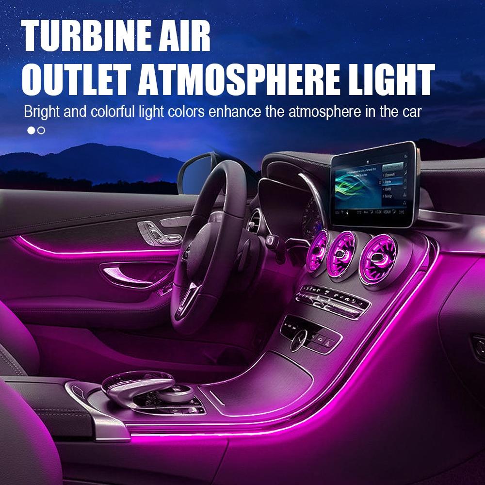 5 قطعة سيارة مصباح لتهيئة الجو 3 ألوان تعديل المحيطة مصباح LED الهواء تنفيس التوربينات منفذ أضواء لبنز GLC 2016-2019