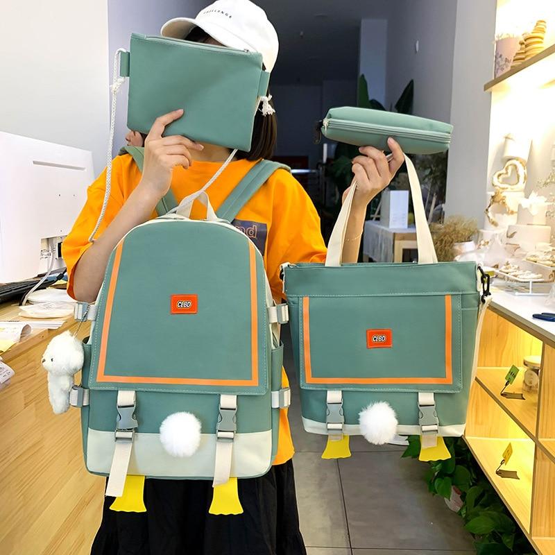 Kawaii Women's Backpack 4 Pcs School Backpacks Set College School Bags For Girls Cute Satchel Shoppi