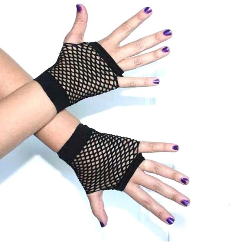 Unk Goth mujeres verano Net guantes sin dedos señora traje para baile y discoteca de encaje sin dedos guantes de rejilla de malla