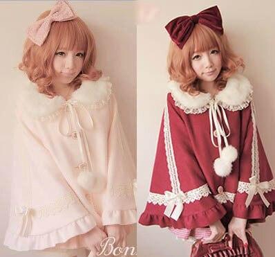 Princess sweet lolita coat Bobon21 high quality fur collar rabbit fur ball lace woolen wool princess cloak c0926