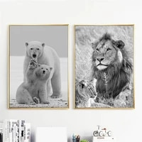 nordic lion polar bear wall art posters and prints animal parent child canvas painting modern pictures living room home decor