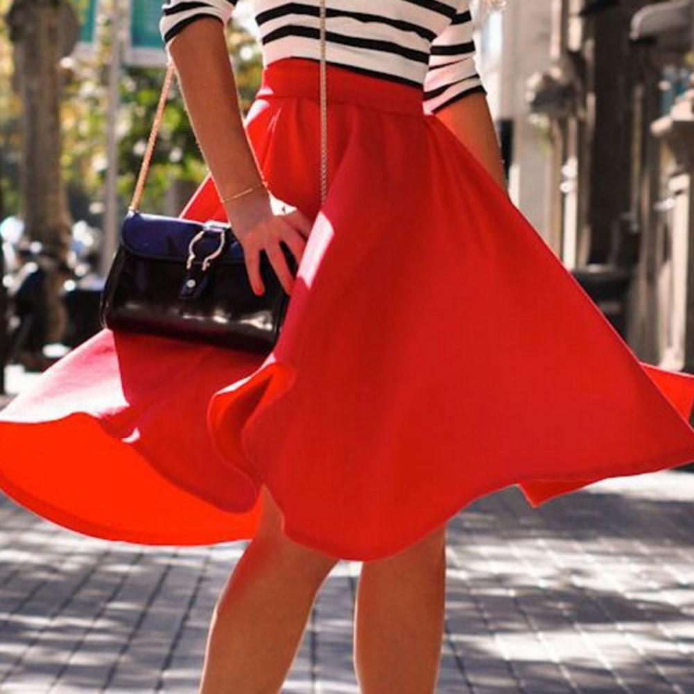 Maxifalda Swing grande plisada Vintage informal para mujeres y niñas, falda Simplee elástica de cintura alta en rosa, rojo, negro, ropa informal de algodón sólido