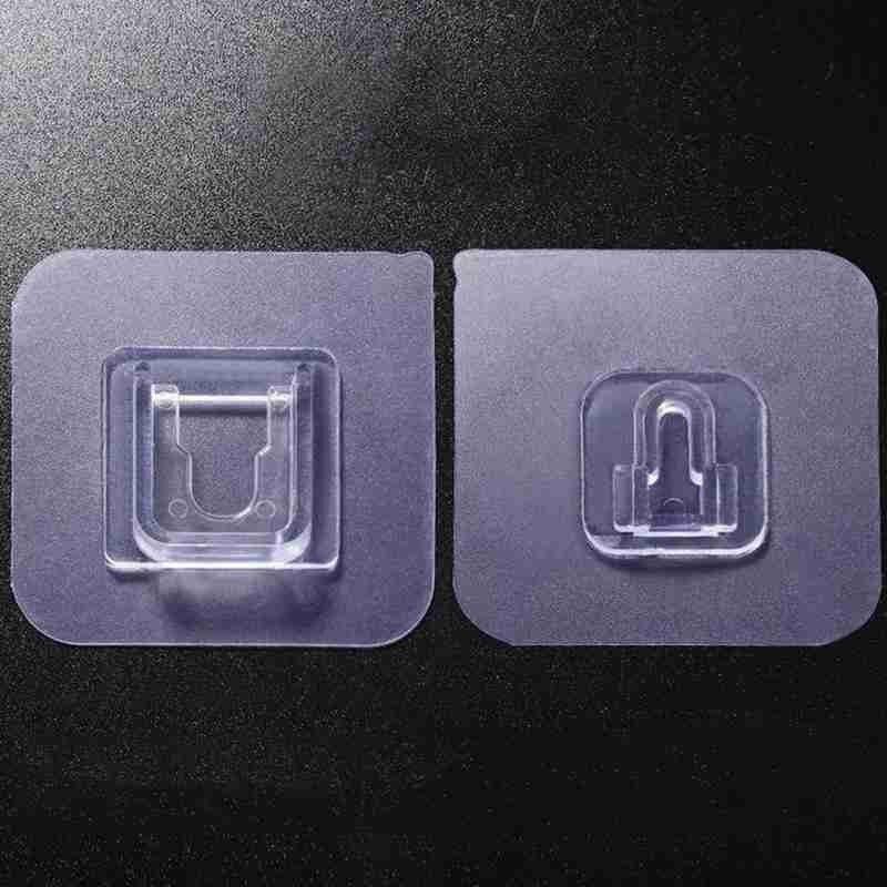 10 pçs cozinha banheiro plástico montagem cabide rack de dupla face paster cozinha banheiro adesivos adesivo gancho de parede pegajoso