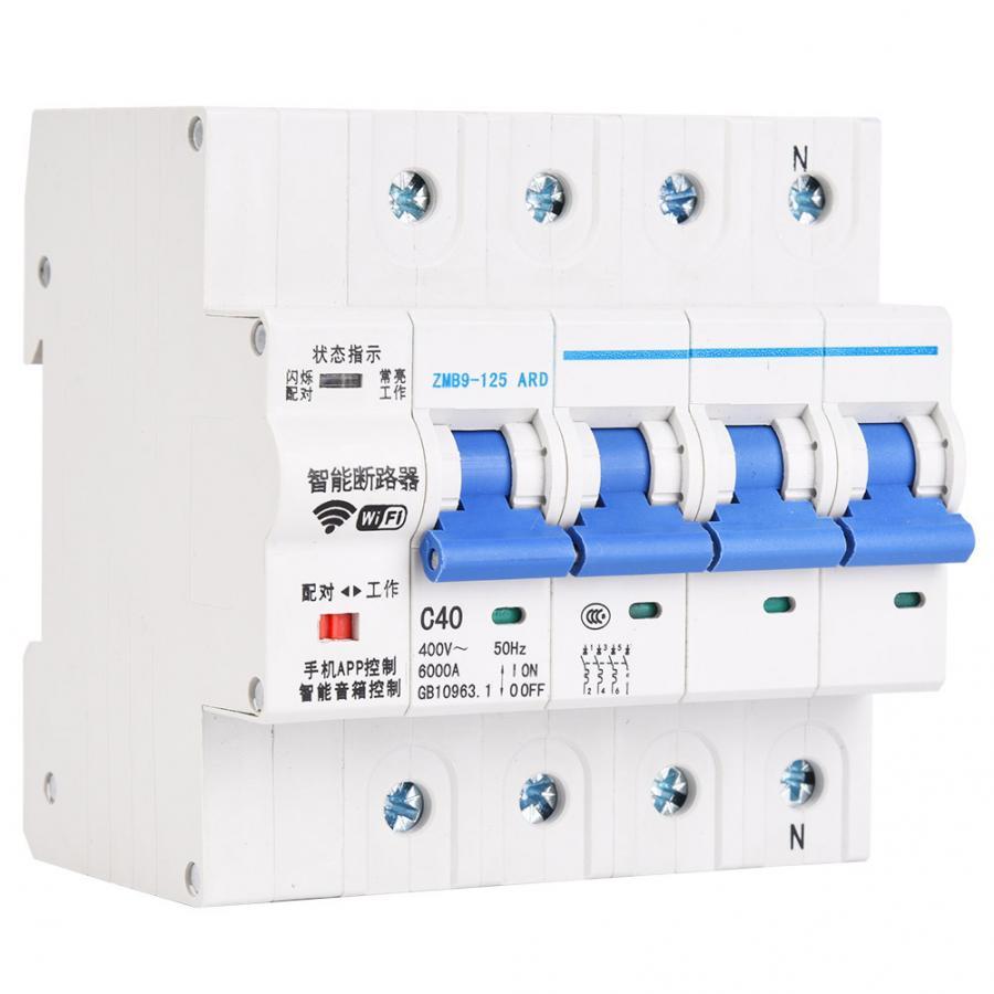 4P WiFi автоматический выключатель с дистанционным управлением din-рейка для умного дома 400V AC 50Hz 25A 40A 63A 80A 100A