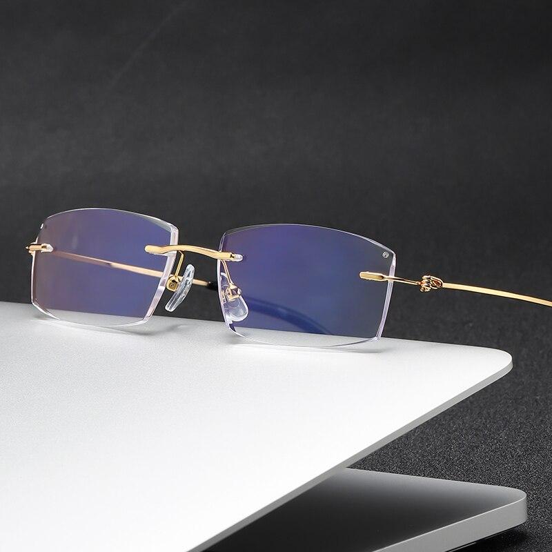 ZIROSAT 8581 Reading Glasses Men Anti Blue Rays Presbyopia Eyeglasses Computer Frameless with +1.0+1.5+2.0 +2.5 +3.0 +3.5 +4.0