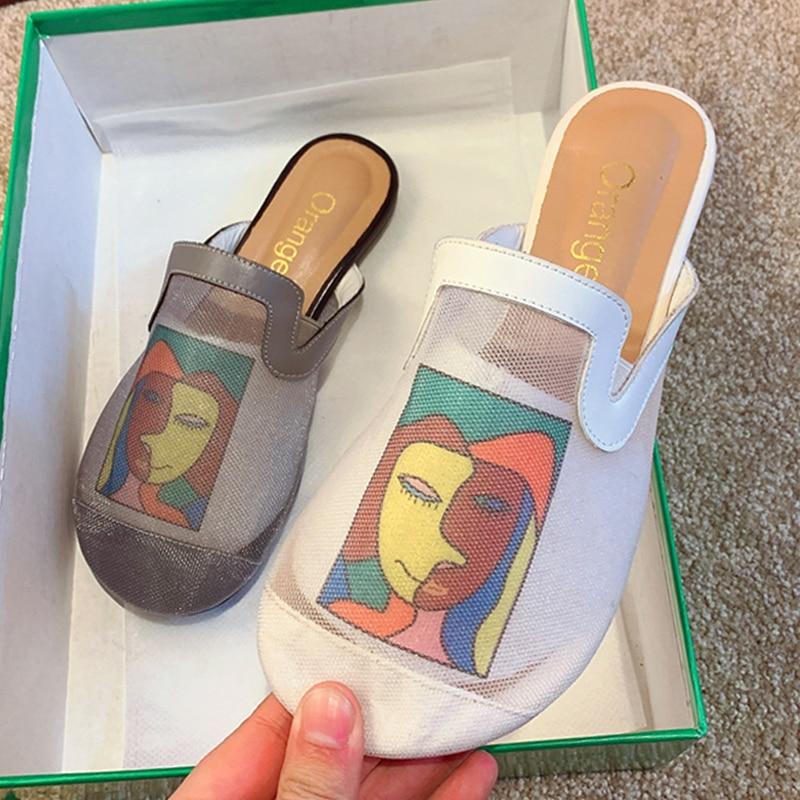 Women Slippers 2021 Summer Shoes for Women Sandals Casual Mesh Breathable Women Shoes Fashion Rome Flat Flip flop Beach Shoes