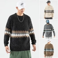tuan autumn and winter new high quality mens geometric pattern pullover sweater mens casual trend knitting sweater
