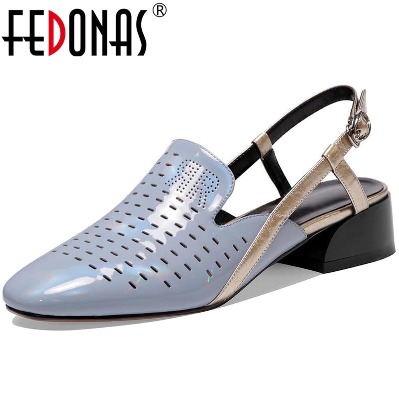 FEDONAS-صندل نسائي من الجلد الطبيعي بكعب سميك ، حذاء حفلات ، حفلة موسيقية ، ضحل ، صيف 2021