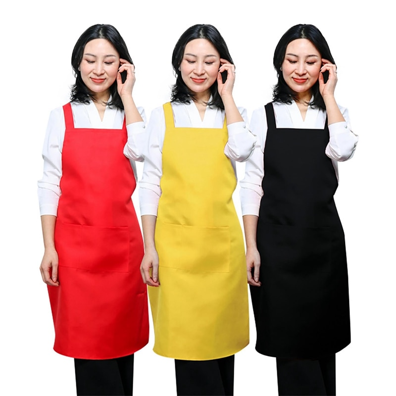 12 Pack Kitchen Apron Pure Color with Single Pocket for Home Cleaning Washing Helper Cotton Polyester for Woman enlarge