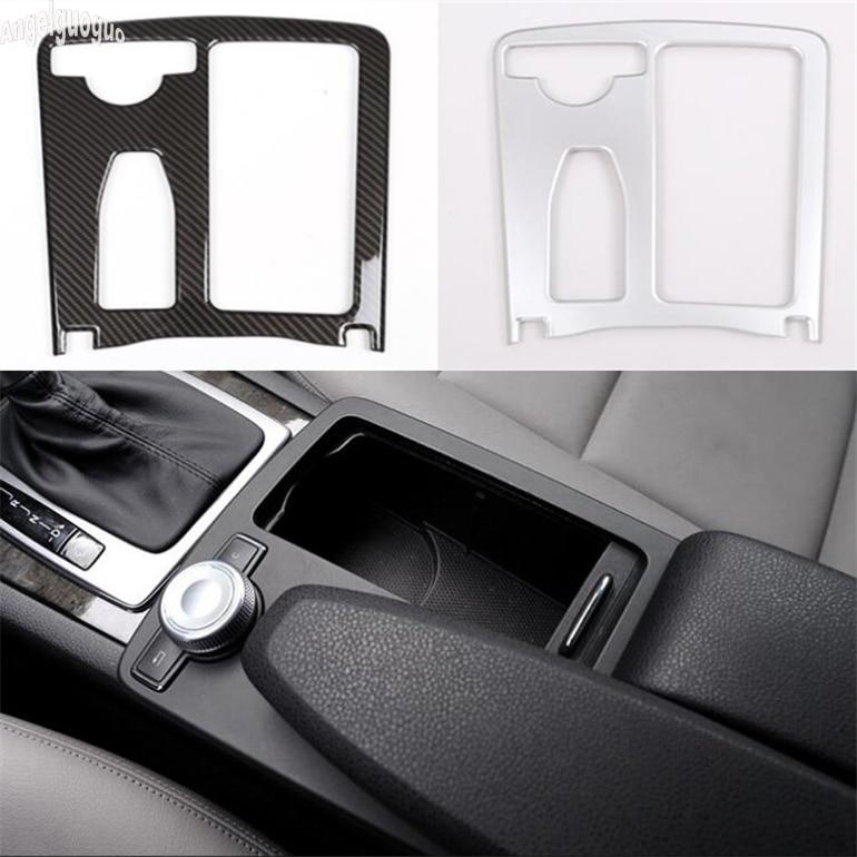 Fibra De Carbono ABS/chrome Para Mercedes Benz classe E Coupe W212 W207 C207 2010-12 Suporte de Copo Do Carro caixa braço Guarnição Quadro Adesivo LHD