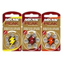60PCS RAYOVAC PEAK Zinc Air Hearing Aid Batteries 1.45V A312 312A ZA312 312 PR41.13A A13 13A 13 P13
