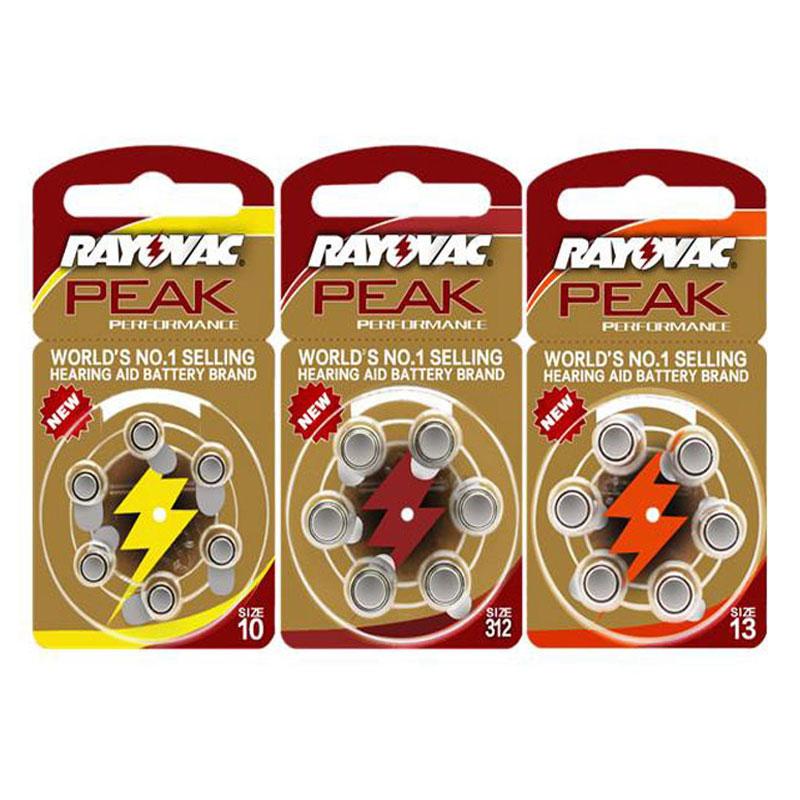 60PCS RAYOVAC PEAK Zinc Air Hearing Aid Batteries 1.45V A312 312A ZA312 312 PR41.13A A13 13A 13 P13 PR48.A10 10A 10 PR70 Battery