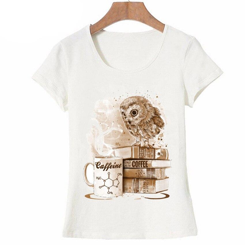 Футболка с мультяшным принтом совы, модная женская футболка, кофейная одержимая сова, футболка с принтом, повседневный Топ, милая женская фу...