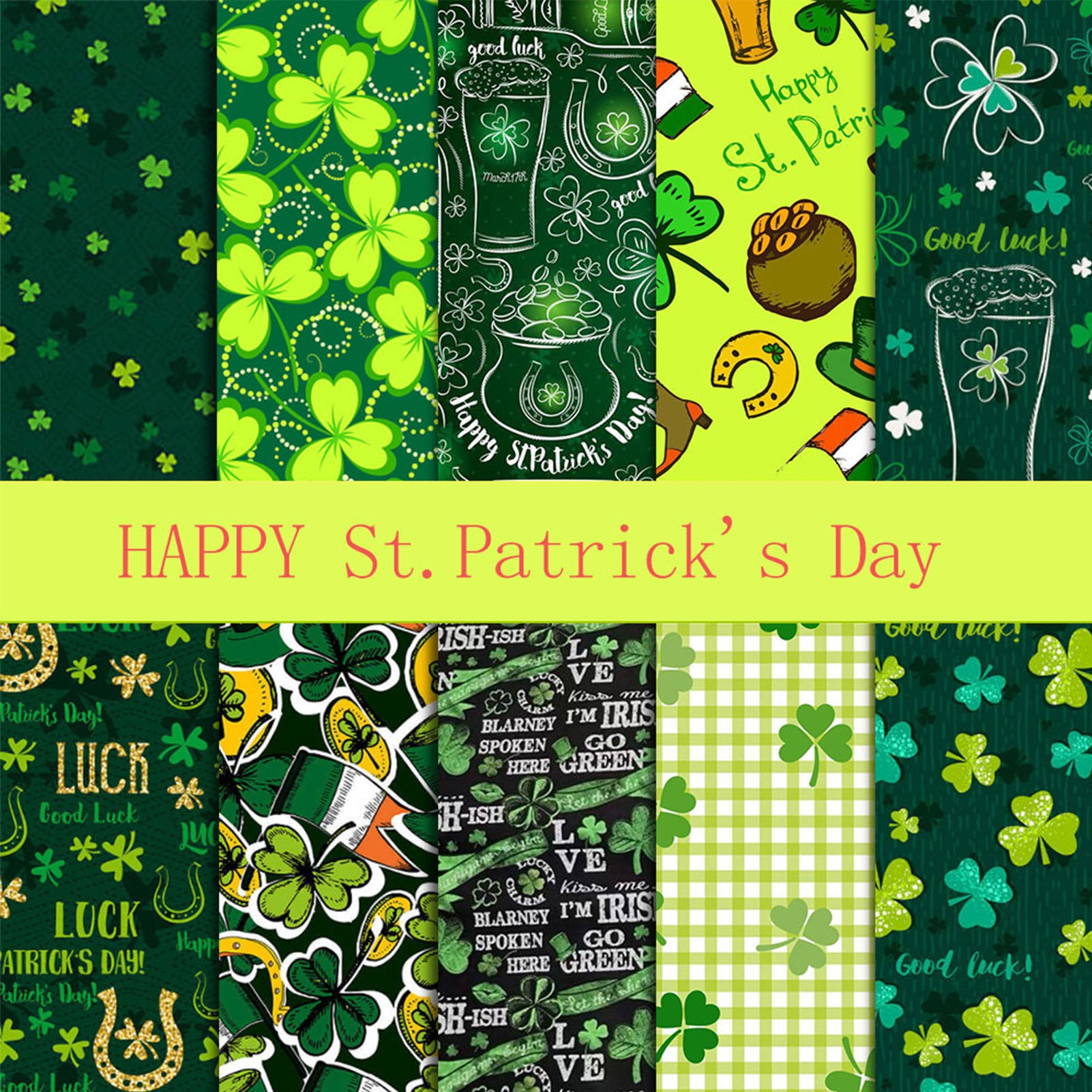 10PCS Printed Cotton Quilting Fabric St. Patricks Day Decorationbright colors soft and breathable best for family