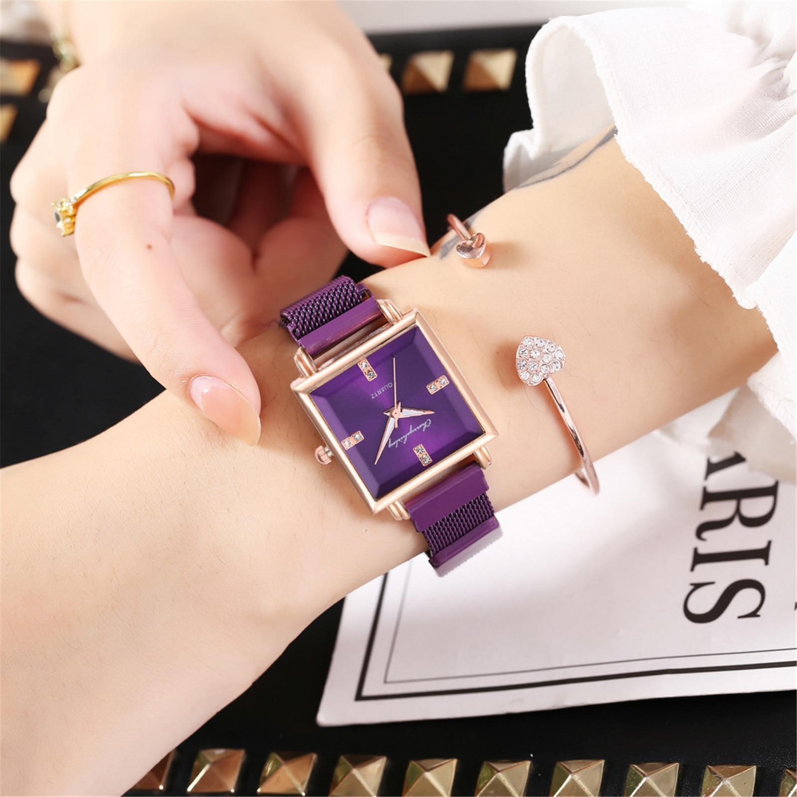 Brand Women Watches Fashion Square Ladies Quartz Watch Bracelet Set Green Dial Simple Rose Gold Mesh