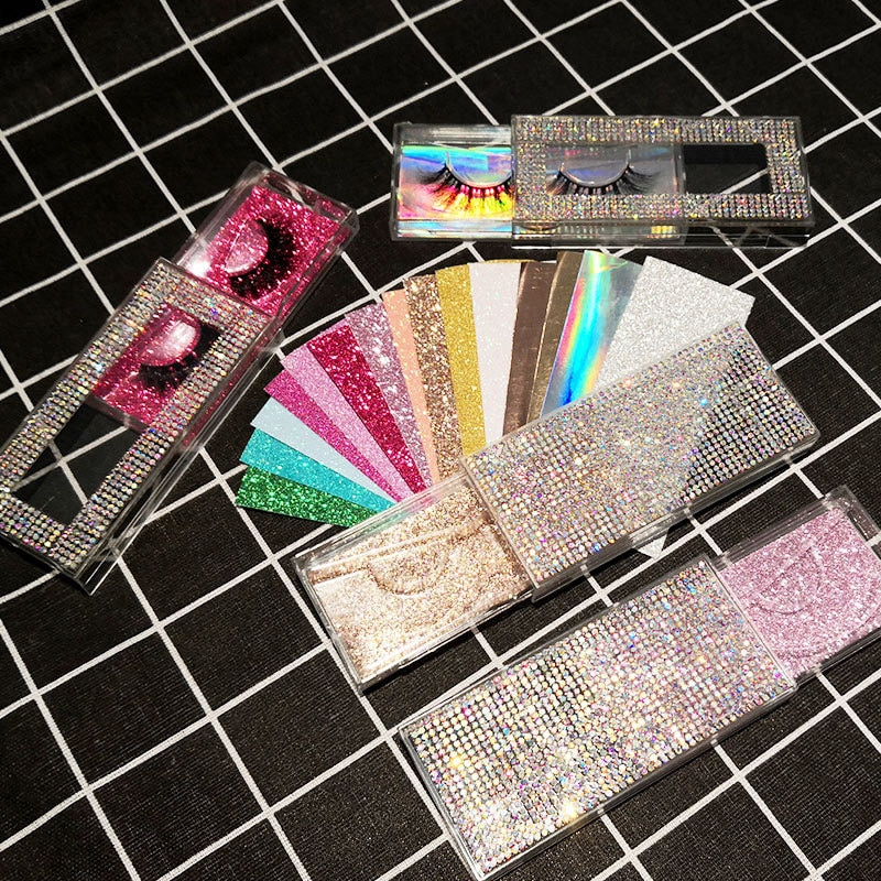 Caja de embalaje de pestañas postizas 3D brillo ostentoso caja de pestañas caja de extracción caja de embalaje de diamantes