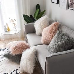 Casa decoração ins fronha 45x45cm pelúcia peludo capa de almofada lance fronha casa cama quarto casa sofá decoração capa de travesseiro casos