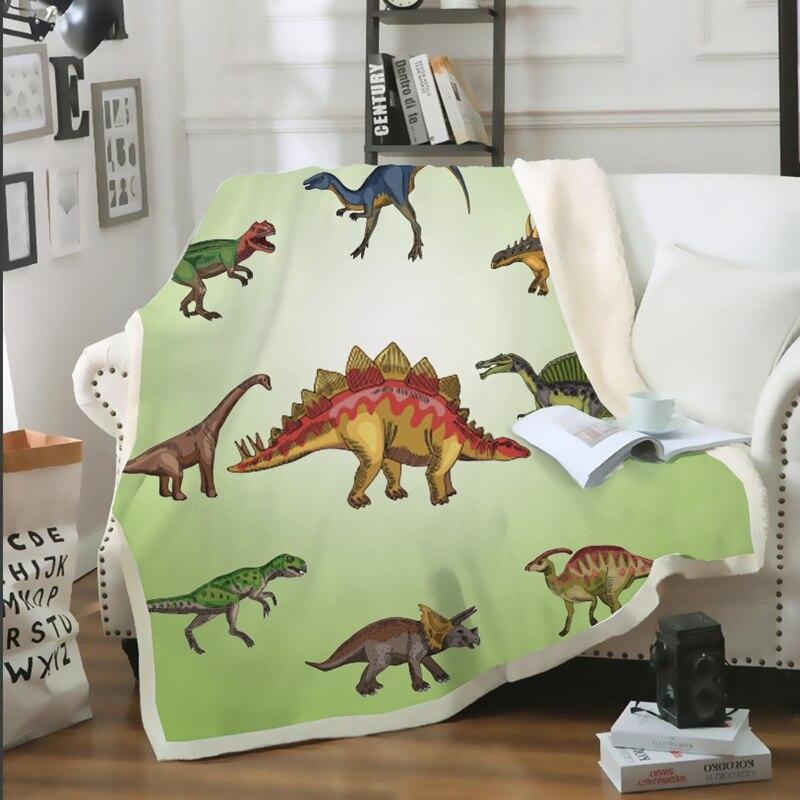 Manta Sherpa de dinosaurio 3D, colcha impresa jurásica para niños, manta de felpa Stegosaurus, edredones suaves de dibujos animados para niños B29