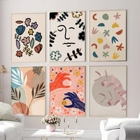 cartoon flower art poster nordic home decor modern art watercolor painting canvas painting