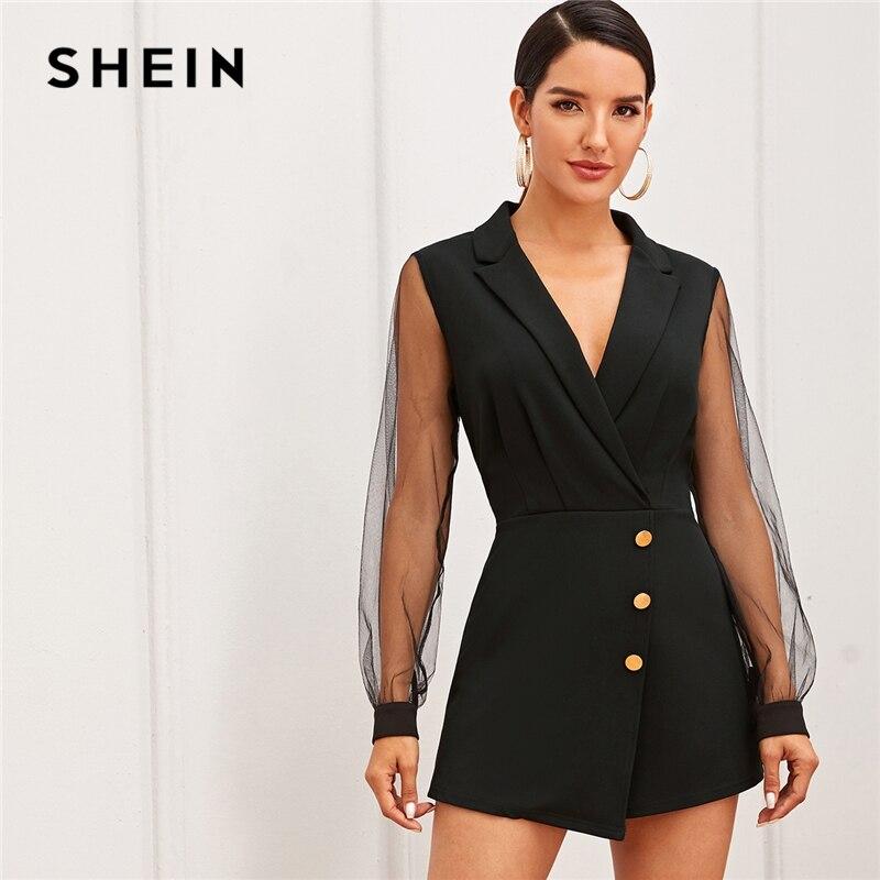 SHEIN noir col cranté maille manches bouton Wrap garniture jupe barboteuse femmes automne taille haute solide fête élégant combishort barboteuses