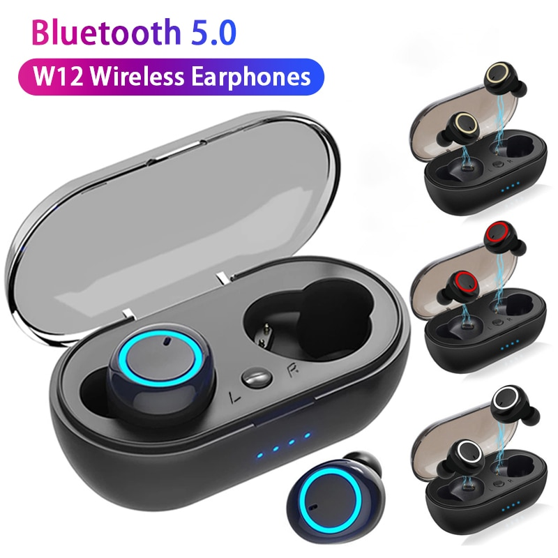 TWS W12 Wireless Headphone Music Headset Sports Earbuds Waterproof Earpieces For OPPO Huawei Iphone Xiaomi Bluetooth Earphones