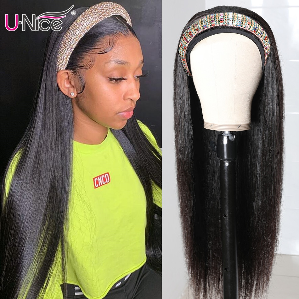 Unice Hair Best Long Straight Hair Headband Wigs Human Hair Affordable Glueless Wigs Natural Color No Glue & No Sew In