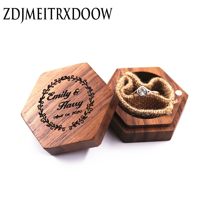 Hexagon Personalized Rustic Wedding Wood Ring Box Holder Custom Your Names and Date Wedding Ring Bearer Box Black Walnut hexagon personalized rustic wedding wood ring box holder custom your names and date wedding ring bearer box black walnut