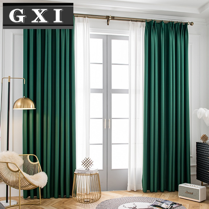 Modern Blackout Curtains For Bedroom Sliding Door Customize Solid Green Curtain Drapes