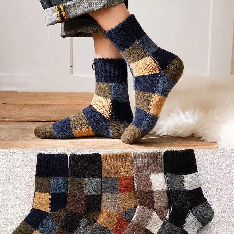 3 пары/Лот зимние носки мужские шерстяные сохраняющие Тепло шерстяные носки мужские в стиле Харадзюку Ретро Рождественский подарок носки д...