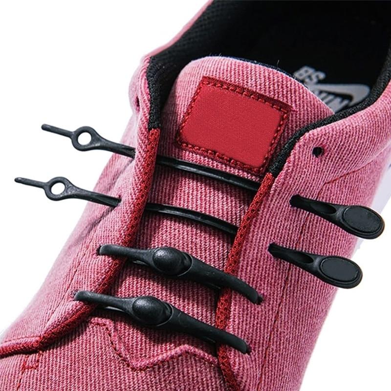 12pcs Silicone Shoelaces Special No Tie Shoelace Round Elastic Lazy Shoe Laces For Men Women All Sne