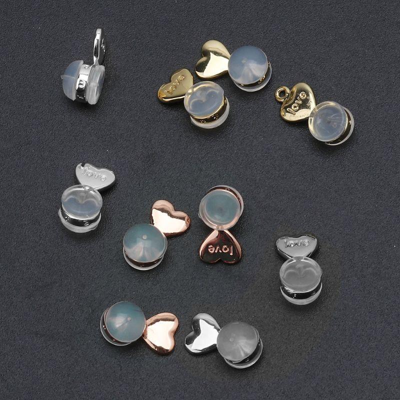 10Pcs Heart Love Magic Earring Lifters Earring Lifts Backs Adjustable Hypoallergenic Earring Nuts Ea