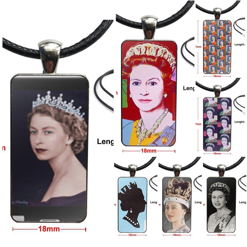 Kızlar için cam kolye kolye el yapımı yarım kolye dikdörtgen kolye kraliçe Elizabeth Ii prenses