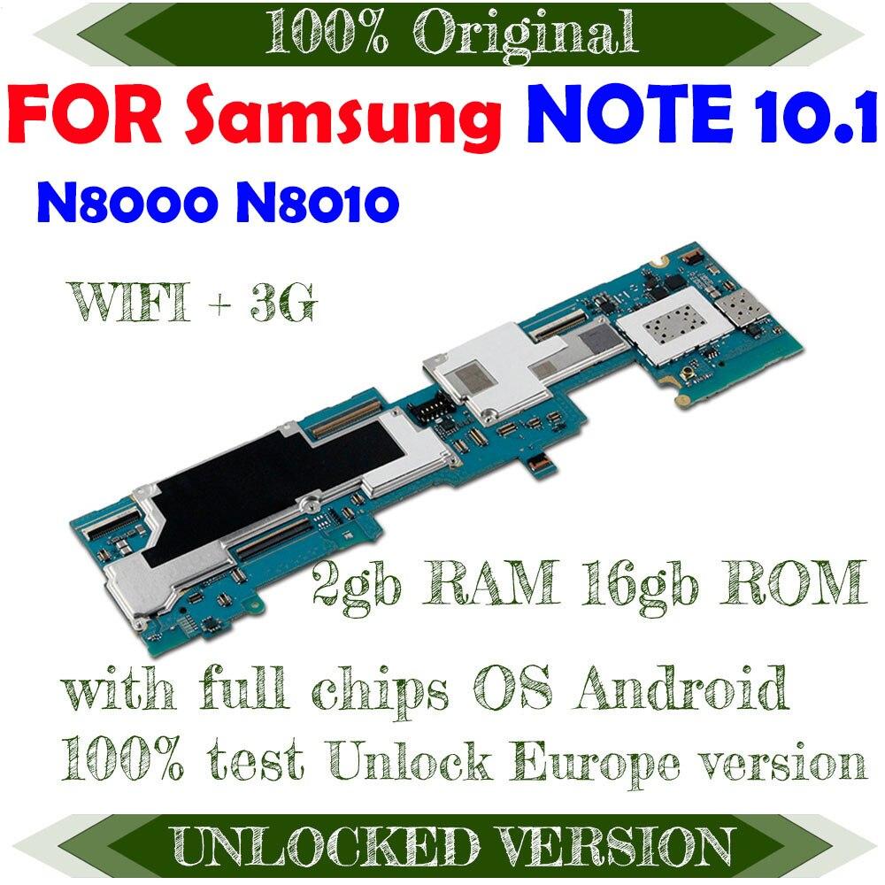 100% Original desbloquear mainbaord para Samsung Galaxy Note 10,1 N8000 / N8010 chips con la placa base Android OS lógica baords