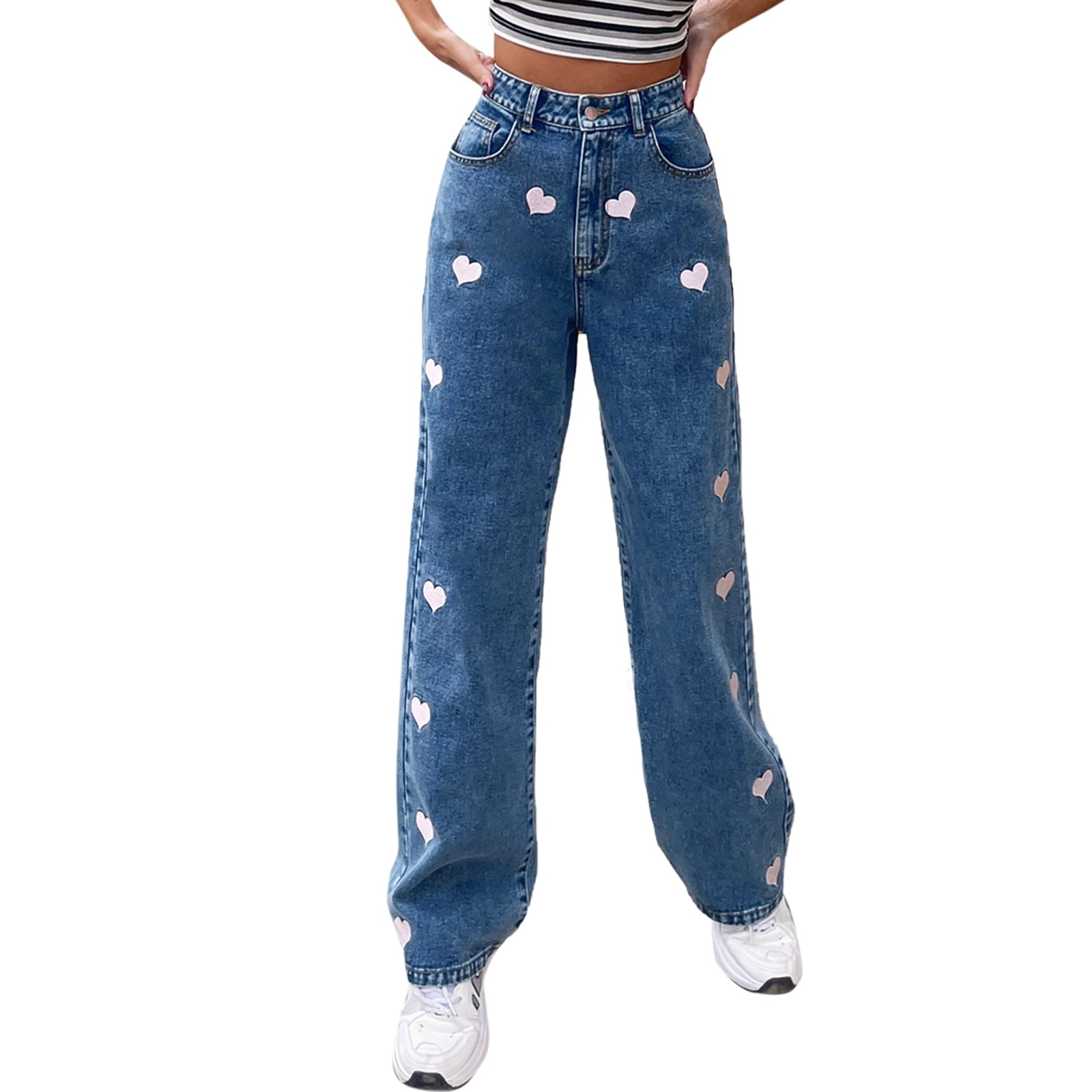 Heart Print Black Casual Jeans Pants for Women Straight High Waist Denim Long Trousers Ladies Harajuku Spring Autumn