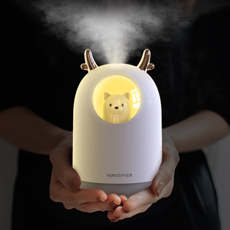 Air Humidifier 300ML Cute Rabbit Ultra-Silent USB Aroma Essential room Car LED Night Lamp  Air Purifier Mist Maker Air Fresher