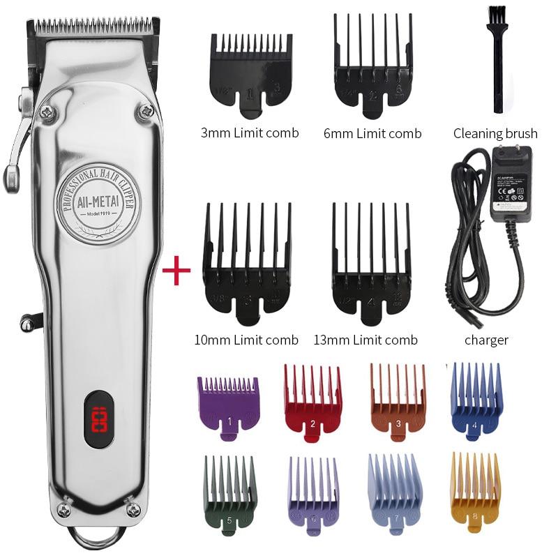 All-Metal Barber Hair Clipper Professional Electric Hair Trimmer Men Cordless Hair Cutter Machine Ha
