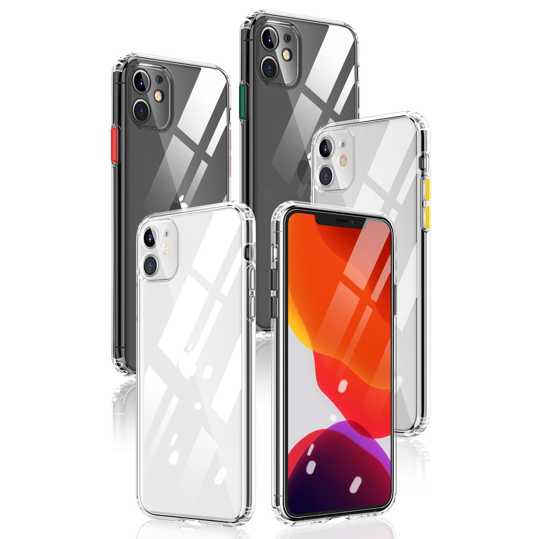 Para Apple iphone 11 Pro Max caso tpu suave transparente Slim a prueba de golpes a prueba funda protectora trasera para iphone XS Max XR 7 8 Plus