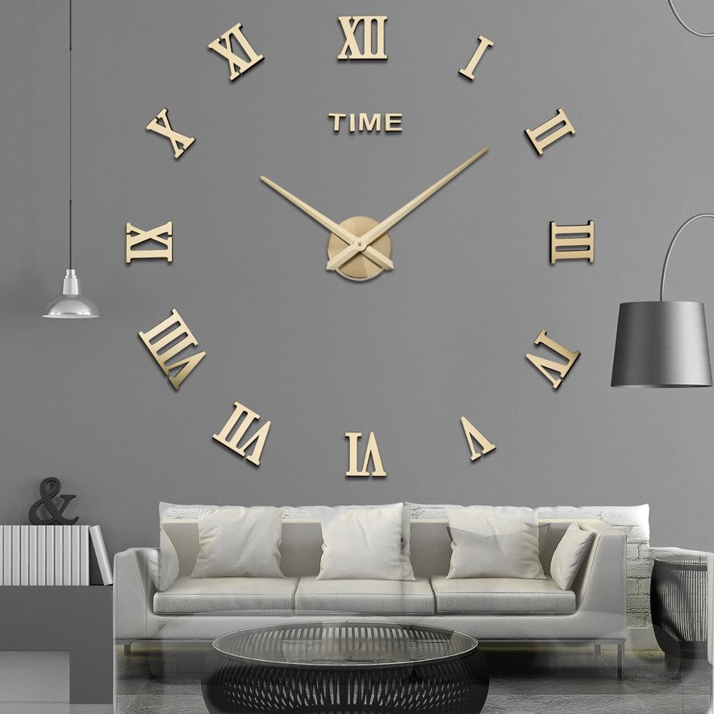 DIY Wall Clock 3D Roman Word Large Living Room Watch Modern Quartz Minimalist Sticker Home Decor 2020 New