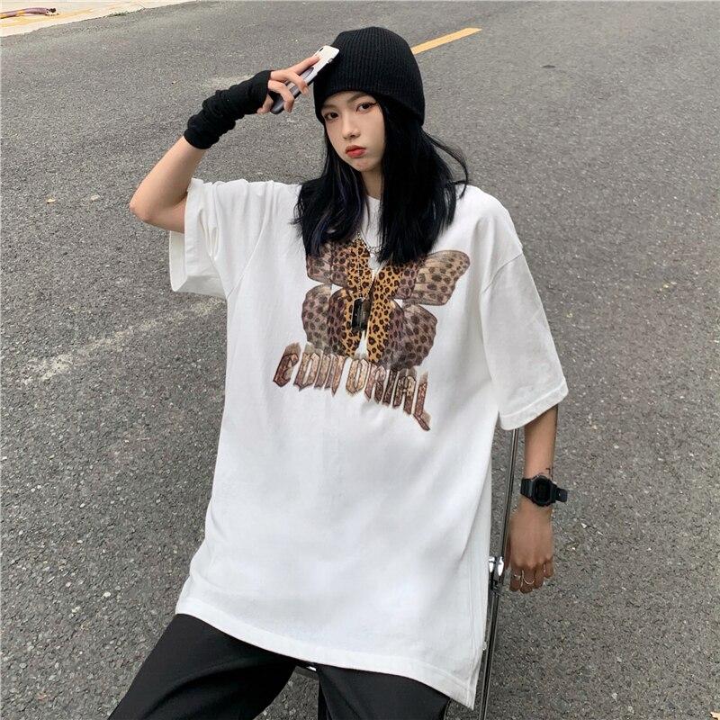 Harajuku T Shirts Hip Hop Leopard Butterfly Print Short Sleeve Tees Shirts Streetwear Women Men Fashion Cotton Punk Gothic Tops