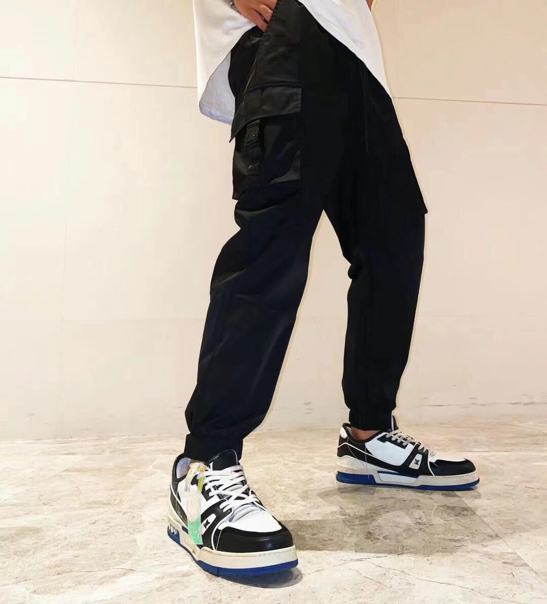 With logo Men's sweatpants Fashion all-match Breathable Comfortable Solid color Pure cotton casual pants Sports running Loose