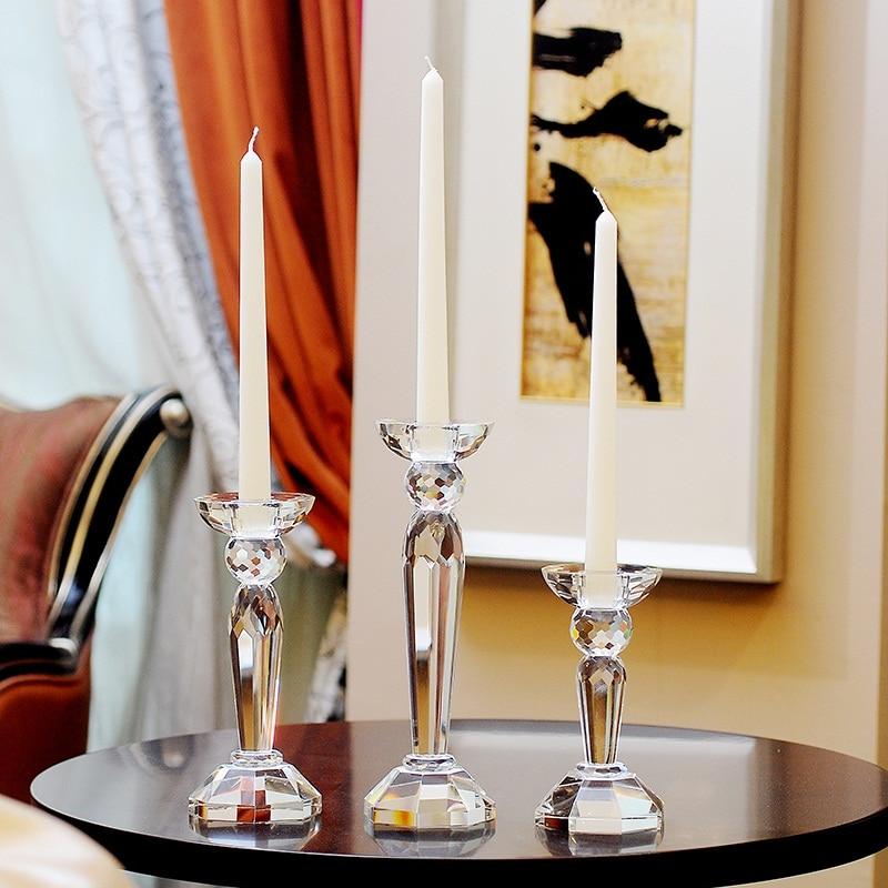 Portavelas De cristal transparente Para decoración del hogar, accesorios De Mesa Para...