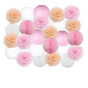 25 шт. розовые/белые Китайские бумажные фонарики 15 см/20 см/25 см/30 см для свадебных мероприятий, вечерние украшения, товары для праздника, бумаж...