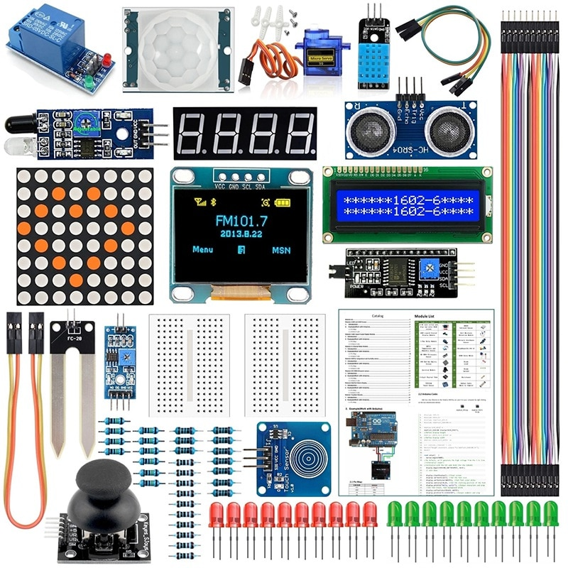 Suitable for Arduino Kit Module Sensor, with 0.96 Inch OLED 1602 LCD Display, Relay, Servo Motor, DHT11, Basic Kit