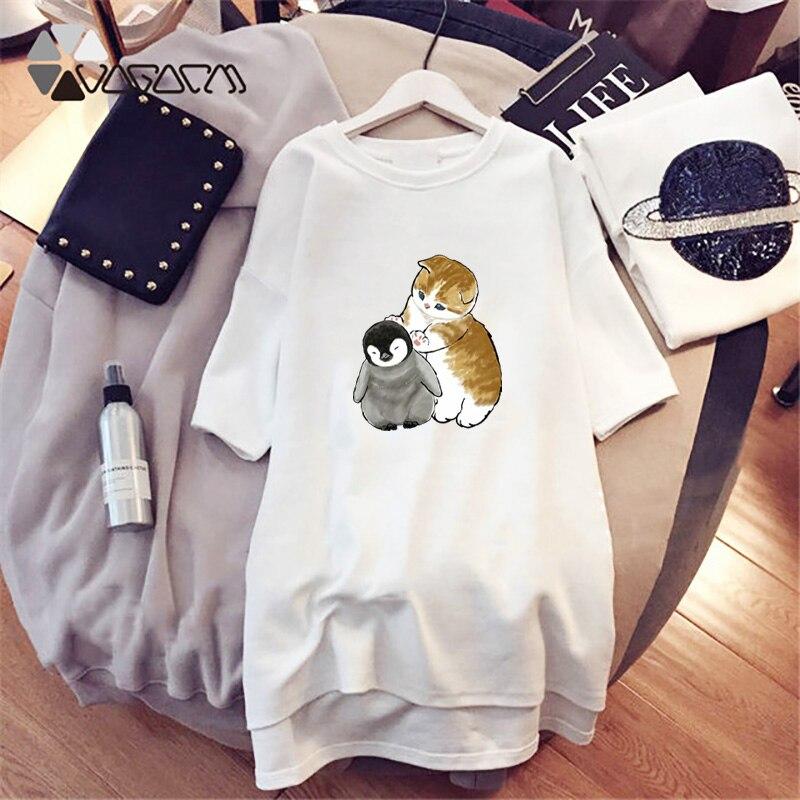 Harajuku Women Oversize Dress Cute Cartoon Cat Dog Print Summer Short Sleeve Loose Mini Vestidos Party Casual Tshirt Dresses