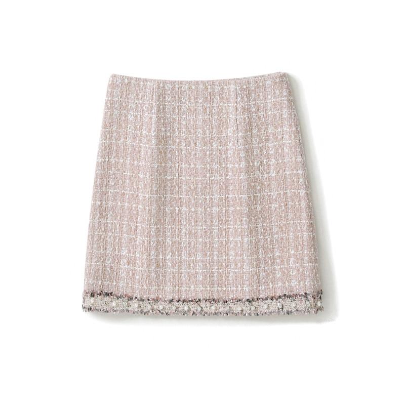 Handmade Luxury Skirt for Women Fashion Vintage Tweed Beading High Waist Package Hip Short Skirt