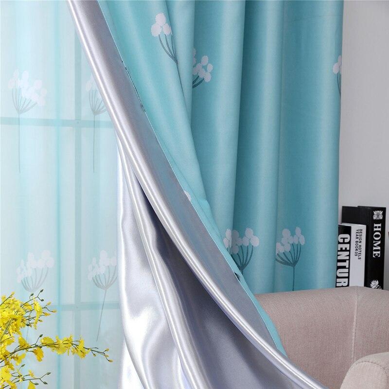 Cortinas opacas modernas para sala de estar, cortinas con estampado de diente de león chico para ventana, persianas, cortinas, ventanas acabadas